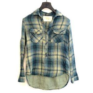 [Bella Dahl] Green/Blue Flannel Shirt - Medium